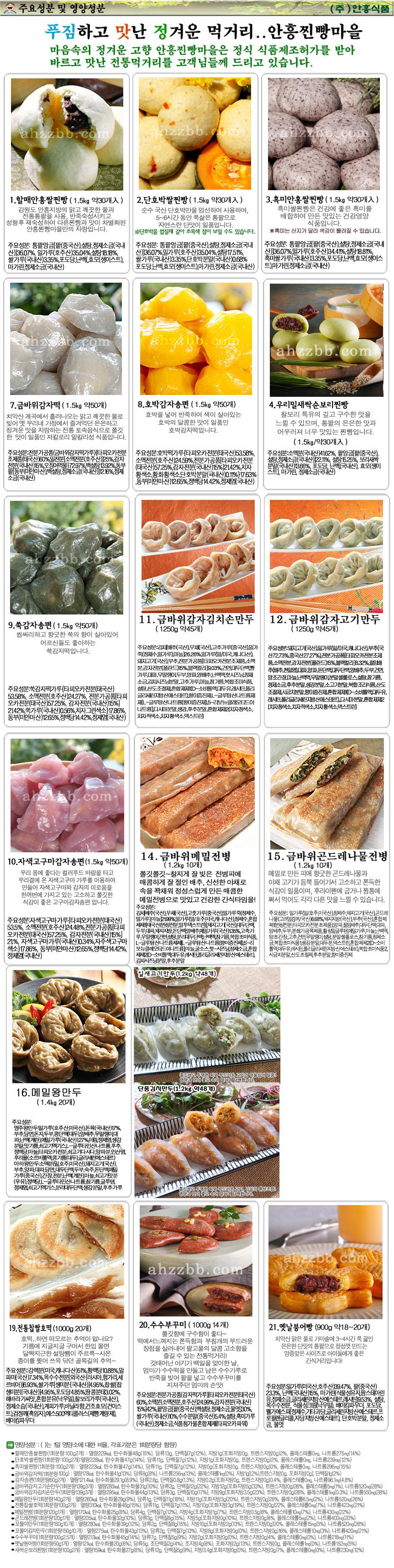 안흥찐빵마을 식품특성과 주요성분, 영양성분 및 열량